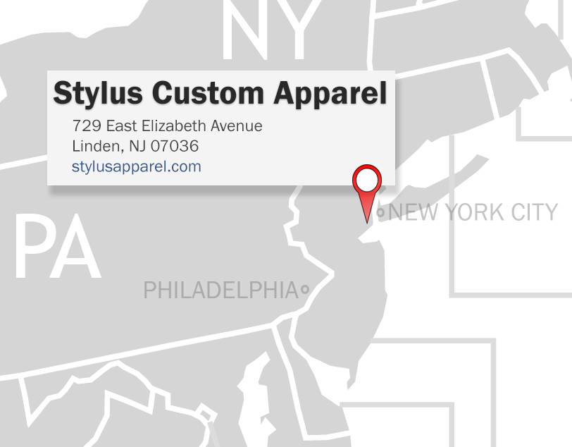 Stylus Custom Apparel -- A USA Cut and Sew Contractor, Screen Printer, Embroiderer, and Custom Garment Manufacturer just minutes outside of New York City!